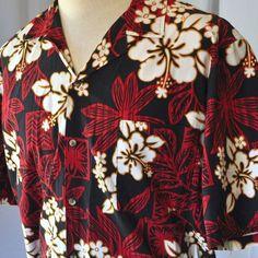 "Retro Tapa Print Hibiscus XL Hawaiian Shirt ""Hawaii"" Brand Tiki Retro Floral USA"