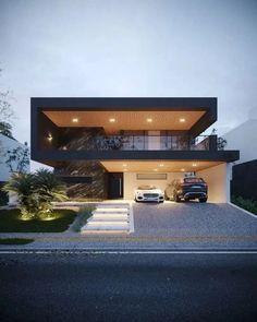 📣 Most Popular Modern Flat Roof House Design 56 - Haus Ideen Flat Roof House Designs, House Front Design, Modern House Design, Design Garage, Luxury Modern House, Modern House Exteriors, House Roof, Facade House, House Windows