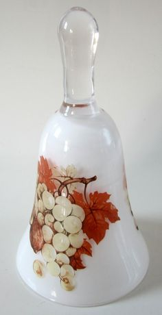 rarest Bells Collectibles | Glass Collectible Bell Grapes Fall Norleans Frosted Italy Vintage Nuts