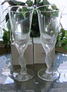 Pair Carl Faberge Kissing Snow Dove Crystal Wine Glass New? in Box No.0334