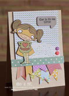 Tarjeta cumpleaños / birthday card usando sellos de #latinacrafter. Por Natalia Medina Hobby de Papel