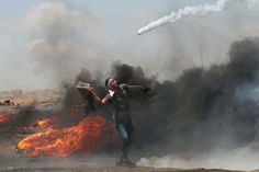 What a shot. Palestinian protestor using a tennis racket to smack back a tear gas canister fired by Israeli troops.