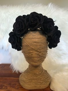 Black Rose Artificial Flower Crown / Floral Wreath / Racewear / Girl / Hair Flowers / Bridesmaid / Fake Flower / Silk / Fascinator /Headband by FauxFloralCo on Etsy https://www.etsy.com/au/listing/472392693/black-rose-artificial-flower-crown