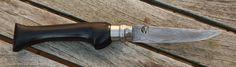 Opinel Modifikation aus Grenadill Griffholz und Klinge aus Damast mit Schneidlage aus 100cr6