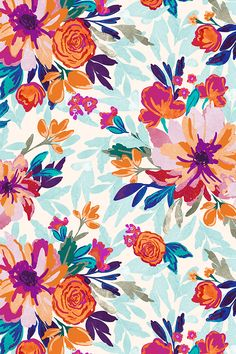 Indy Bloom Design Jade by indybloomdesign - Bright red, orange and teal flowers on a muted floral background on fabric, wallpaper, and gift wrap.  Beautiful hand illustrated roses in vibrant tones.