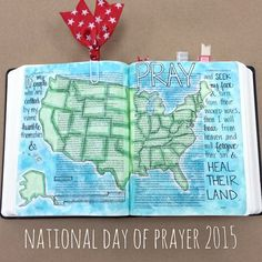 """May 7, 2015 ❤️ National Day of Prayer ❤️ 2 Chronicles 7:14 """"If my people who are called by my name humble themselves, and pray and seek my face and turn from their wicked ways, then I will hear from heaven and will forgive their sin and heal their land."""" #illustratedfaith #biblejournaling"""