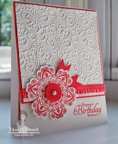 Stampin' Up! ... handmade birthday card ... by From My Pad to Yours ... strawberry and bright white ... fantasy flower stamped and punched ... luv how the baroque embossing folder texture echoes the intricate lines of the flower ... like it!