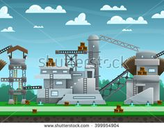 Illustration of landscape ,with constructions and buildings, vector unending background with separated layers for game.