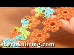 Crochet Floral Cord Lace Tutorial 51 Small Six-Petal Flowers - YouTube