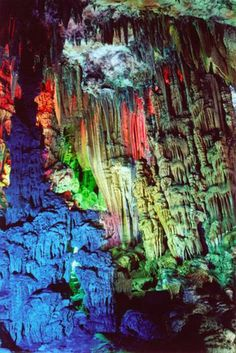 The Reed Flute Cave Limestone in Guilin, Guangxi, China. A kaleidescope of colors, a miracle of nature. Resplendent Beauty.