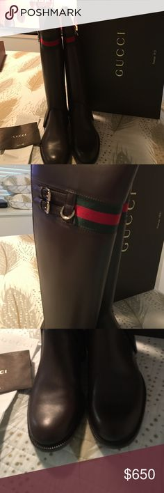 Brown leather Gucci riding boots brand new size10 These are beautiful brand new never wore brown leather riding boots with traditional Gucci red and green around the top these boots didn't fit me so my loss is your gain the are a fabulous pair off boots can also be wore short the are a size 10 Gucci Shoes Winter & Rain Boots