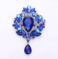 Black Tone Crystal Fancy Brooch Light Blue