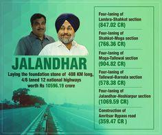 Punjab is thankful to PM Narendra Modi Ji and Union Minister Nitin Gadkari Ji for according so much priority to Punjab's infrastructure development. #progressivepunjab #akalidal