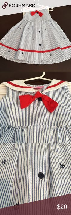 Girl's EUC Sophie Rose Nautical dress- 24 months #155.  Super cute dress.  Tiny anchors on the dress.  Adorable back of dress too!   EUC.  Worn once, washed and hung to dry.  Looks brand new.  SF/PF home.  **Pls check out my closet.  10% bundle discount**.  Tags: Sailor, Anchors, preppy, beachy, Red, white, blue, patriotic. Sophie Rose Dresses