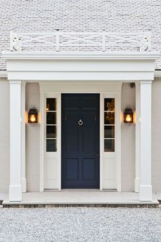 front door color, lanterns, entire door way
