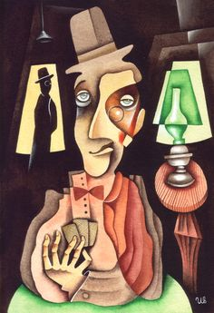 Fake Player by Eugene Ivanov, watercolour, 2006. #cardplayers #cardplayer #card #players #eugeneivanov #cubism #art #expressionism  #@eugene_1_ivanov