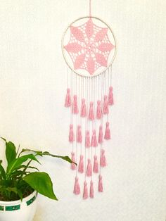 Blush Pink Dream Catcher Tassel Wall Hanging Large Dreamcatcher Baby Girl Pink Nursery Décor Pink Dreamcatcher Girls Bedroom Décor It will defend you and your family from bad dreams and fight against evil spirits trying to creep into your house at night because they will become