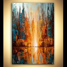 Modern palette knife abstract city painting City by OsnatFineArt Abstract Painting Techniques, Abstract Paintings, Abstract Painting Ideas On Canvas, Sunset Acrylic Painting, Modern Art Paintings, Classic Paintings, Acrylic Art, Watercolor Paintings, Abstract City