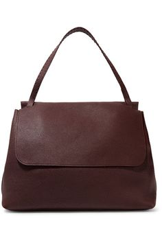 The Row - Top Handle 14 Textured-leather Shoulder Bag - Burgundy