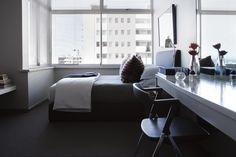 Guest bedroom Office Desk, Corner Desk, Hotels, Interiors, Bedroom, Furniture, Home Decor, Corner Table, Desk Office