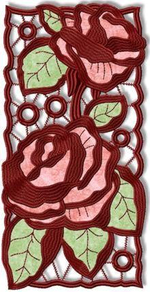Cutwork Lace Applique Rose Panel