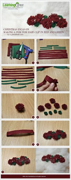 Christmas Ideas on Making a Pom Pom Hair Clip in Red and Green