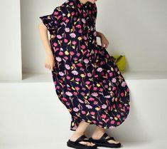 Women Linen printing Dresses, Raglan sleeve dress, women dresses with pockets, oversized Dresses
