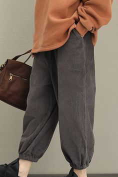 75e978223651 Loose Thicken Corduroy Casual  pants Women Warm Trousers QT323 Loose Pants  Outfit