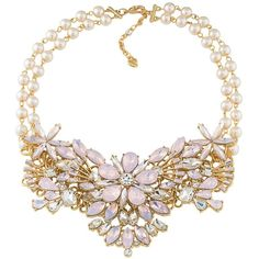 "Carolee Radio City Floral Statement Necklace, 17"" (2 975 UAH) ❤ liked on Polyvore featuring jewelry, necklaces, accessories, pink, pink necklace, statement necklaces, floral statement necklace, carolee necklace and pink jewelry"