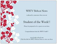 Invitation cards for the Student of the Week as part of our school news show