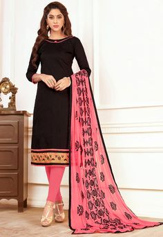 Black Khadi Cotton Suit with Embroidered Dupatta