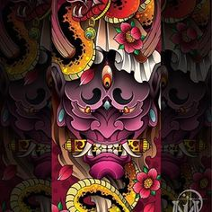 Hannya (般) 👹 Las máscaras hannya son representadas como demonios de mujeres consumidas por sus celos. Japanese Tattoo Art, Japanese Tattoo Designs, Japanese Sleeve Tattoos, Japanese Design, Japanese Art, Hannya Mask Tattoo, Hanya Tattoo, Irezumi Tattoos, Leg Tattoos