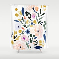 Sierra Floral Wall Hanging Tapestry by Crystal W Design - Small: x Floral Shower Curtains, Bathroom Shower Curtains, Bathroom Bath, Watercolor Walls, Floral Wall, Tapestry Wall Hanging, Vintage Walls, Decor Styles, Just For You