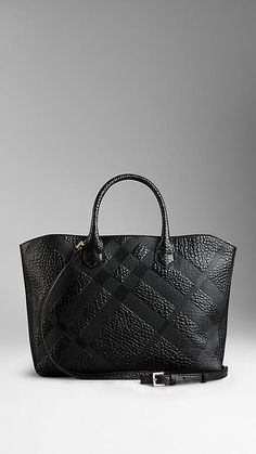 Medium Embossed Check Leather Tote Bag | Burberry