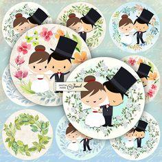 Wedding Couple  2.5 inch circles  set of 12  digital