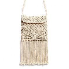 Yoins Beach Crochet Fringed Flap Over Crossbody (£14) ❤ liked on Polyvore featuring bags, handbags, shoulder bags, yoins, beige, shoulder handbags, fringe crossbody, fringe purse crossbody, crossbody purse and purse shoulder bag