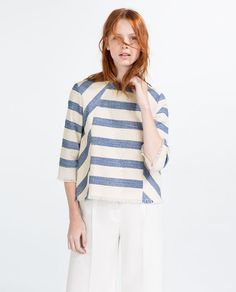 Image 1 of STRIPED FRAYED TOP from Zara