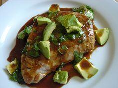 Seared Tuna Steak w/ Avocado & Cilantro Lime Dressing. YUM!