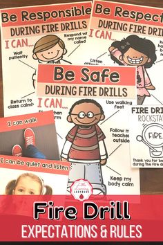 This Fire Drill expectations companion pack is full of posters and materials to accompany the teaching of your school's PBIS rules. I like to use these materials from the very first day of school to teach my students the right way to follow our Fire Drill procedure. From stopping when the alarm rings, to staying calm, these materials are sure to teach your students how to be safe during a fire drill! Fire Drill Procedures, First Day Of School, Back To School, Classroom Expectations, Teaching Schools, Positive Behavior, Classroom Management, Printables, Positivity