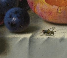 """Emilie Preyer """"Still Life of Peaches, Grapes and Nuts on a Table"""" (detail)   Flickr - Photo Sharing!"""