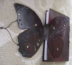 Leather Butterfly Journal / Sketchbook - Mahogany