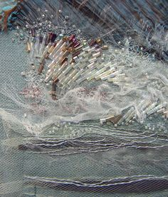 Surge: lower left detail _ © by Carol Walker, half-mom squared Beaded Embroidery, Embroidery Patterns, Hand Embroidery, Machine Embroidery, Sewing Patterns, Textiles Sketchbook, Art Sketchbook, Art Perle, Creative Textiles