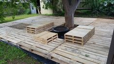 Pallet Deck with Furniture Around Tree