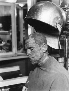 "Boris Karloff being made up as ""The Mummy"""