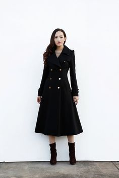 Black Coat / Military Maxi Coat / Double Breasted Jacket for Women ...