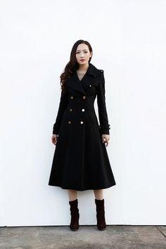 Manteau noir / Long Manteau / Veste croisée / par Sophiaclothing