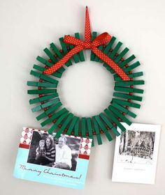 Clothes Pin Wreath- for Christmas craft/parent gift. can pin photos from each Christmas. Noel Christmas, All Things Christmas, Winter Christmas, Christmas Wreaths, Christmas Cards, Christmas Decorations, Christmas Ornaments, Handmade Christmas, Christmas Scrapbook