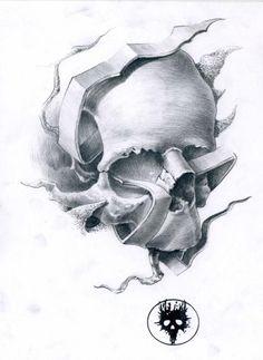 Tattoo Skull Drawing By Moth Simeonov Fine Art Prints Design 510x700 Pixel