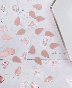 Rose gold confetti from our beautiful range of Hello World baby shower supplies. Discover the whole range at partydelights.co.uk.