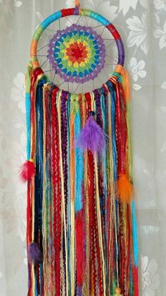 Rainbow Dreamcatcher,Rainbow Wallhanging, Nursery Accessories, Boho Chic, Bohemian dreamcatcher,Hippie Crochet, ,Ideas for kids and babies - pinned by pin4etsy.com